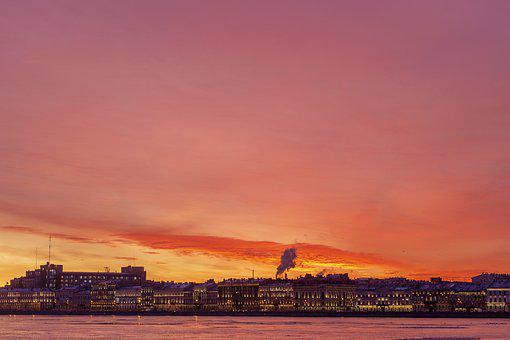 St Petersburg, Russia, City, Dawn, Beauty, Landscape