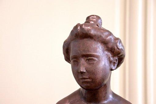 Sculpture, Statue, Bronze, Brown, Young Woman, Portrait