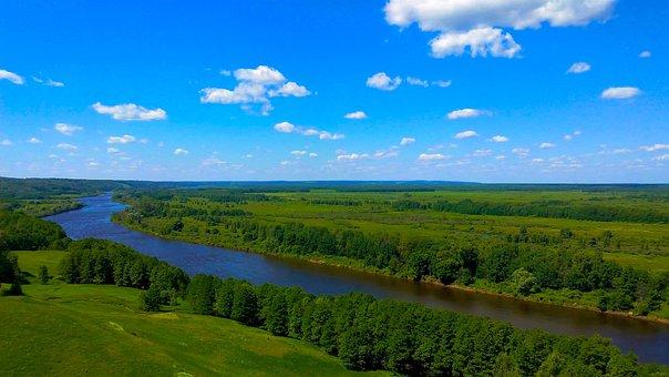 River, Land, Flight, Sky, Summer, Forest