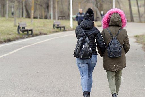 Girls, Women, People, Backpacks, Going