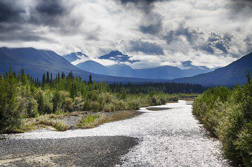 Yukon Territory, Alcan Highway, River, Landscape
