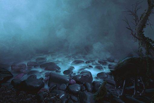 Dark, Wolf, Mystic, Trees, Stone, Demon, Fog, Animals