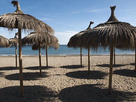 Beach, Umbrellas, Shadow, Costa, Sun