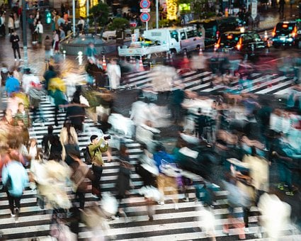 Shibuya, Crossing, Motion, Blur, Still, Night, Center