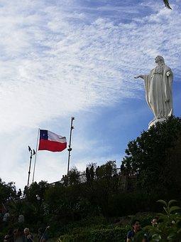Santiago, City, Chile, Cable Car, Catholicism, Virgin