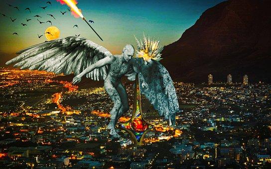 Photoshop, Angel, War, Wallpaper, City, Design, Syria