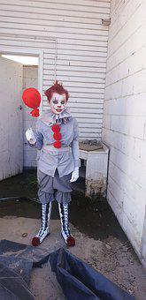 Creepy, Clown, Pennywise, Float, Red Balloon, Horror