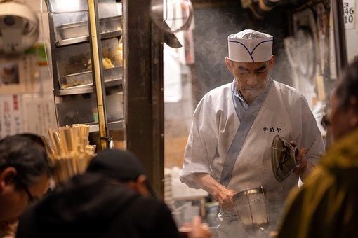 Chef, Cooking, Street, Costumer, Restaurant, Japan
