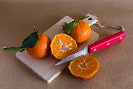 Tangerine, Knife, Fruit, Cutting Board