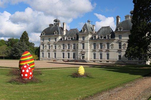 Easter, France, Eggs, Coloured, Architecture, Castle