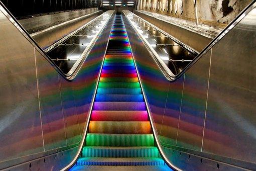Metro, Escalator, Gradually, Rainbow, Sweden, Stockholm