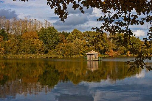 Lake, Cabin, Nature, Landscape, Trees, Fall, Sky, Wood