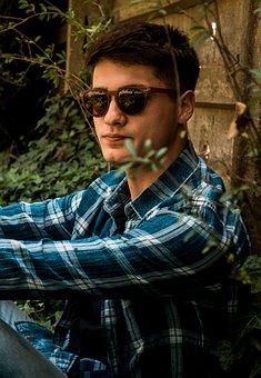 Boy, Portrait, Green, Outdoors, Glasses
