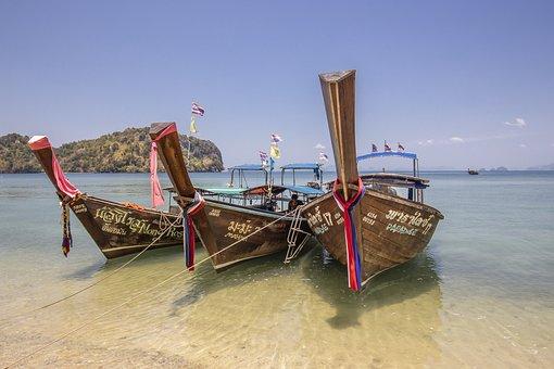 Nautical Vessel, Sea, Beach, Asia, Thailand, Krabi