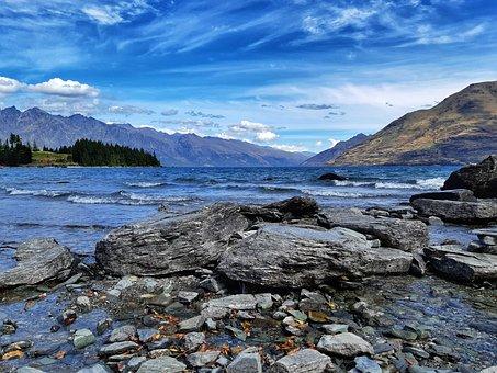 Lake, Rocks, Water, Waves, Pebbles, Stones, Mountains