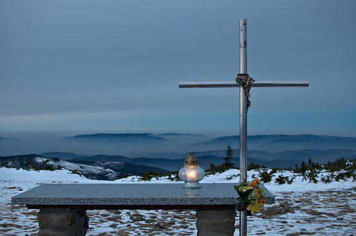 Cross, The Altar, Mountains, Lantern, Light, Faith