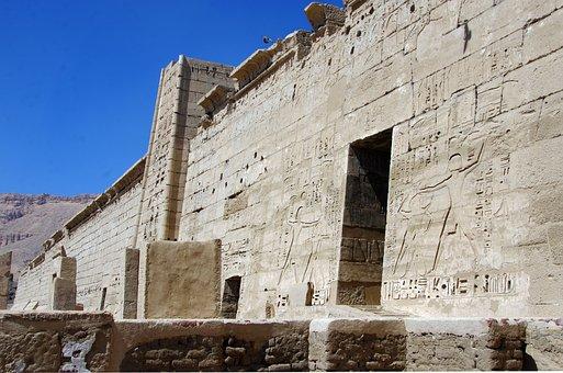 Egypt, Luxor, Medinet-habu, Temple, Hieroglyphs
