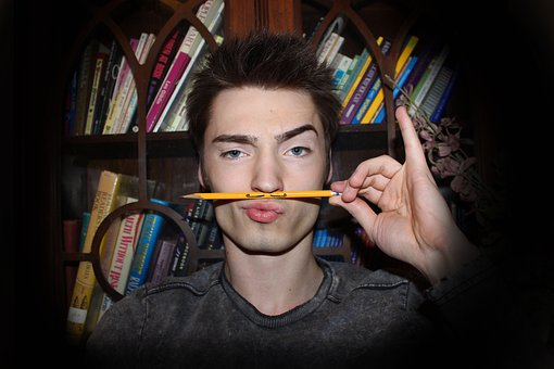 Pencil, Mustache, Smexy, Smart, Books, Blue Eyes, Lips