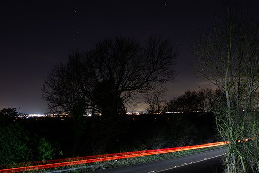 Tracer, Night Sky, Brake Lights, Speed, Rural Road