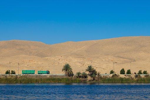 Nile, Truck, Desert, Road, Sand, Dunes, Sky, Water