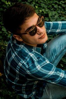 Boy, Portrait, Green, Outdoors, Glasses, Cute, Pretty