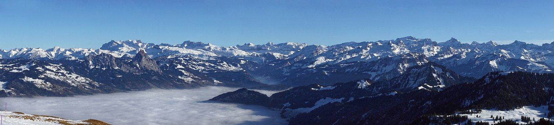 Panoramic Photo, Panorama, Alpine, Alps, Sea Of Fog