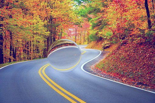 Autumn, Road, Ufo, The Leaves Are Yellow