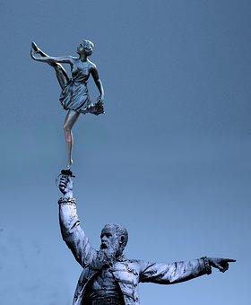 Statue, Figure, Dancer, Female, Man, Sculpture