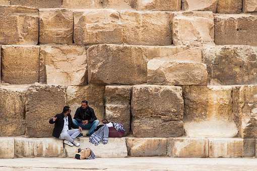 Men, Sitting, Arabic, Selling, Talking, Stone, Ancient