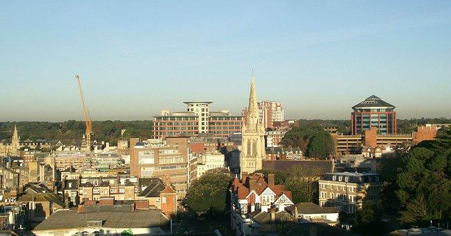 Bournemouth, Dorset, England, Uk, Skyline, Architecture