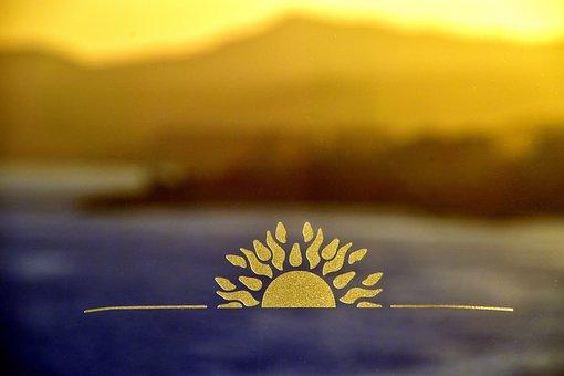 Sunrise, Sunrise On Glass, Ocean Background, Mountains