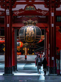 Temple, Japan, Senso-ji, Worship, Religion, Red