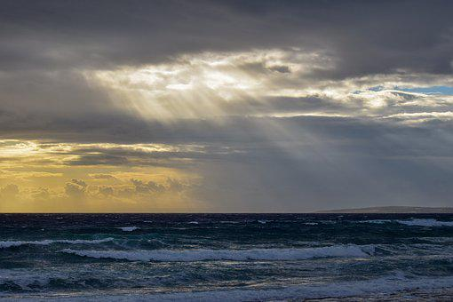 Sea, Sky, Clouds, Sunbeam, Waves