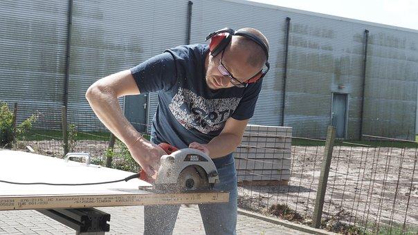 Man, Jobs, Saw, Circular Saw, Work, Carpenter, Build