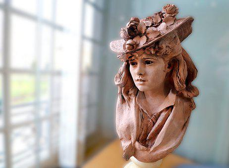 Sculpture, Terracotta, Young Woman