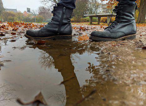Shoes, Reflect, Puddle, Autumn, Mirroring, Water