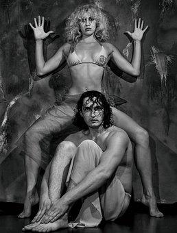 Studio, Man And Woman, Monochrome, Art, Composition