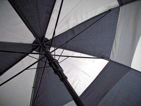 Umbrella, Rain, Cover, Black, White, Winter, Weather