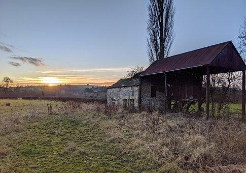 Derbyshire, Barn, Countryside, Landscape