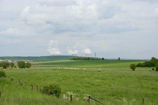 Nuclear, Plant, Sheep, Flock, Nature, Industry