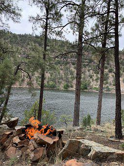 Lake, Campfire, Forest, Camping, Water, Fire, Nature