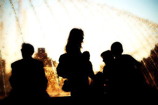 Silhouettes, People, In The Evening