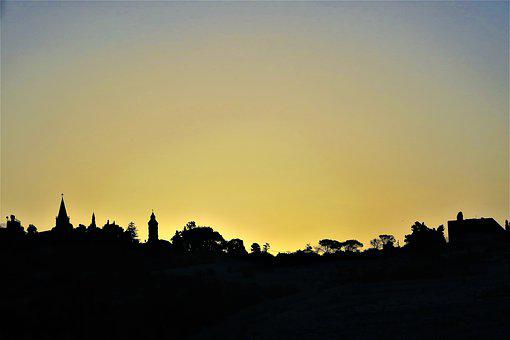 The Zeytindag, Jerusalem, Silhouette, City, Mountain