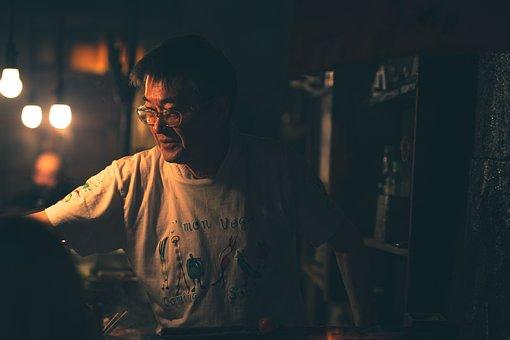 Memory, Lane, Chef, Walking, Street, Japan, Night, Food