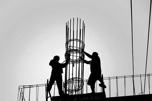 Silhouettes, People, Men, Workers, Construction, Roof