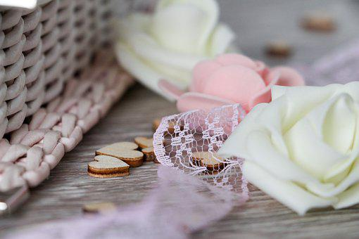 Flowers, Pink, White, Lace, Heart, Weaving, Hobby