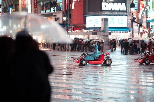 Shibuya, Crossing, Night, Tokyo, Japan, Billboard