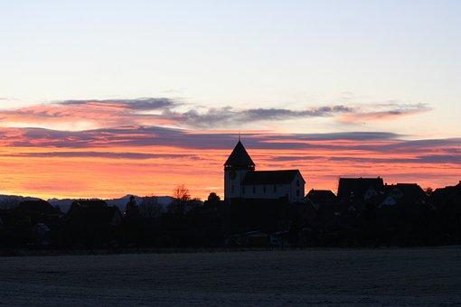Illnau, Church, Sun, Setting, God, Sky, Jesus, Sunset