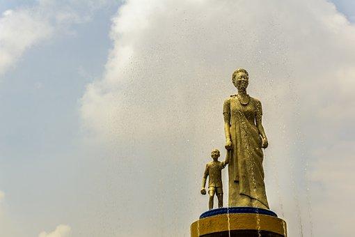 Kigali, Rwanda, Africa, Statue, Sky, Clouds