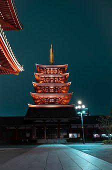 Temple, Japan, Senso-ji, Worship, Religion, Red